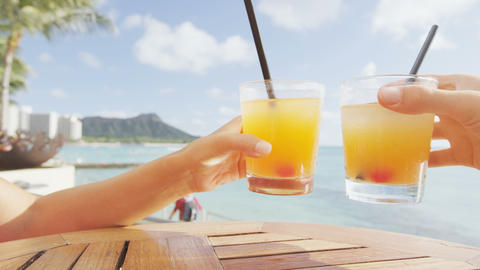 Alcoholic drinks beach bar party drinking friends Footage