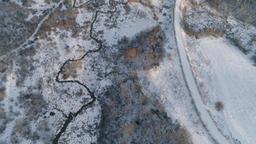 Winter landscape with forest, river. Winter landscape Footage
