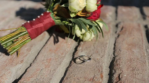 Beautiful bridal bouquet and wedding rings Footage