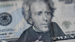 4K United States Twenty Dollar Bill Blur Footage