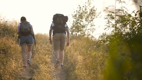 Hikers man and woman lovers trekking walking with backpacks in trail at mountain Footage