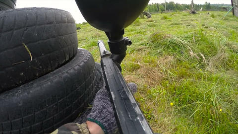Personal Perspective Of A Paintball Player. Paintball game, first person view Live Action