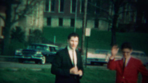1964: Mean teenage boy pushes child pretends it didn't happen Footage
