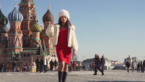 Girl In A Fur Clothes On The Red Square In Moscow Footage