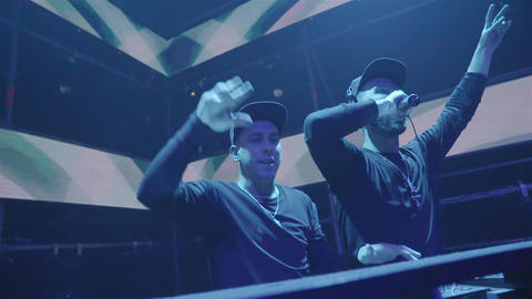 Two DJ At Night Club Party Footage