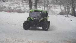 Racing ATV in the winter season. Sports competition January 27, 2018 Footage