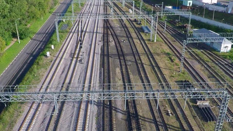 Multiple railroad tracks aerial video Live Action