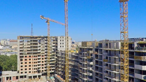 Urban construction site, aerial view Footage