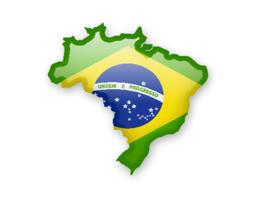 Flag of Brazil and contour of the country ベクター