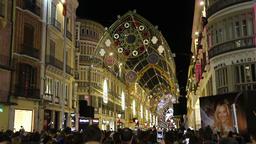 Christmas light show in Malaga, Spain Footage