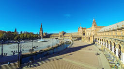 Panorama of Plaza de Espana in Seville, Andalusia, Spain Footage