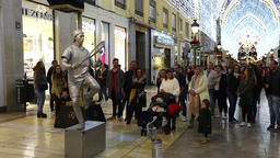 Street artist performs on street in Malaga, Spain Footage