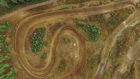 Vertical aerial shot of a motocross training track 영상물