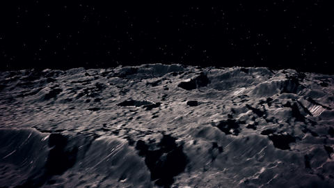 3D Animation of Flying over the Moon surface. View from a spaceship. Close up Footage