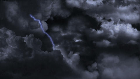 Lightning and rain In Storm Clouds. 4K. v.2 Footage
