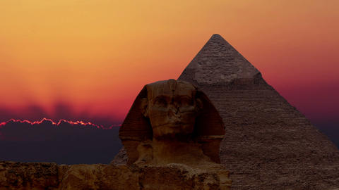 Timelapse. Sunrise over the pyramid of Cheops and Sphinx. Giza Egypt. v.1 Footage