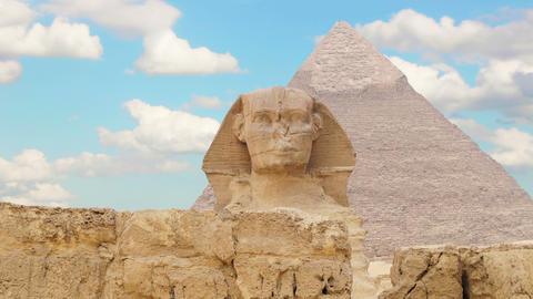 Timelapse. Clouds over the pyramid of Cheops and Sphinx. Giza Egypt. v.2 GIF