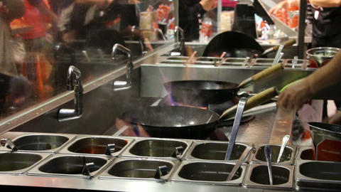 Madrid. Spain. - April 24, 2015: Frying eggs in a fast food restaurant 영상물