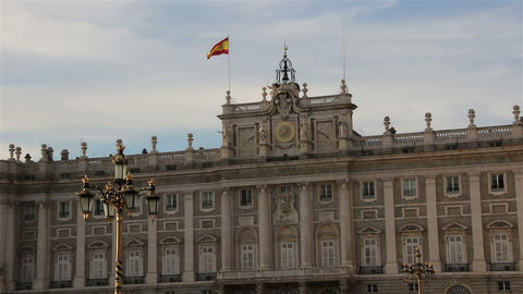 Royal Palace in Madrid in a beautiful summer evening, Spain. Zoom Footage
