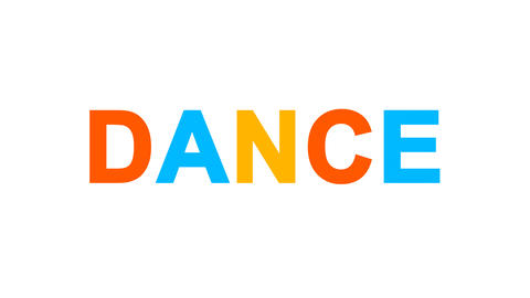 text DANCE from letters of different colors appears behind small squares. Then Animation