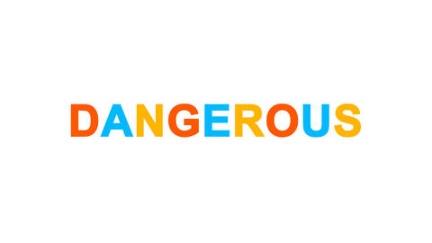 text DANGEROUS from letters of different colors appears behind small squares Animation