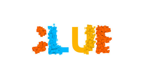 text CLUB from letters of different colors appears behind small squares. Then Animation