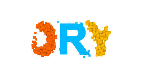text DRY from letters of different colors appears behind small squares. Then Animation