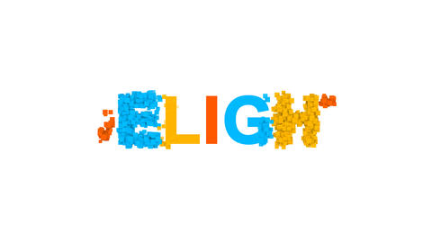 text DELIGHT from letters of different colors appears behind small squares. Then Animation
