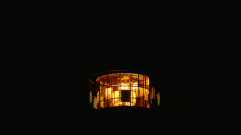 Detail of turning lamp in lighthouse. Detail of Fresnel... Stock Video Footage