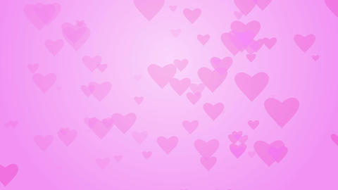 Love hearts moving on pink background with gradient. Pink heart background Footage