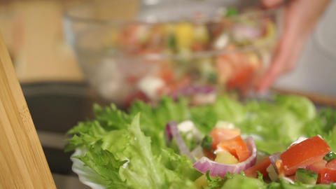 Vegetable and cheese salad, several videos in one Footage