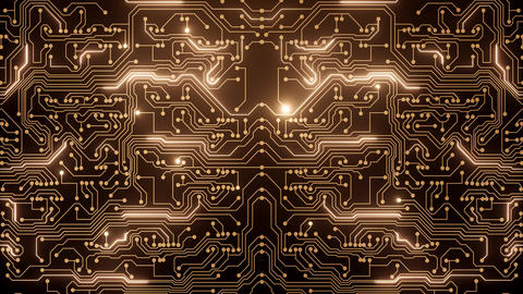 Abstract loop animation of gold circuit Animation