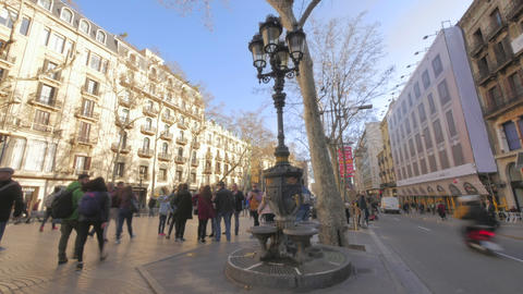 Canaletes Fountain in Barcelona Famous Tourist Spot Time Lapse Footage