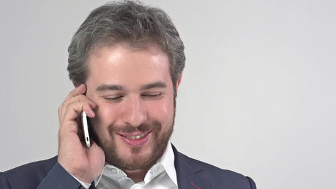Portrait of businessman using mobile phone Footage