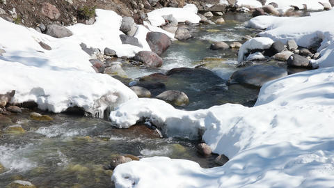 River flows near Elbrus mountain 4k video Footage
