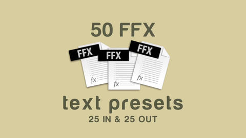 New 50 Text Presets (FFX) After Effectsテンプレート