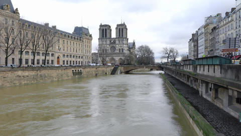 View of Notre-Dame de Paris and Rive Gauche from Pont Notre-Dame Footage