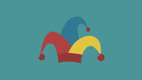 Clown jester hat flat design animation icon. loop with alpha channel Animación