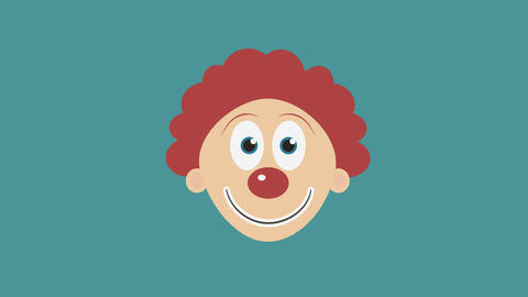 Happy clown face flat design animation icon. loop with alpha channel Animation