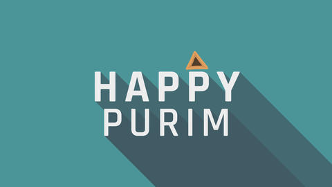 "Purim holiday greeting animation with hamantash icon and english text ""Happy Animación"