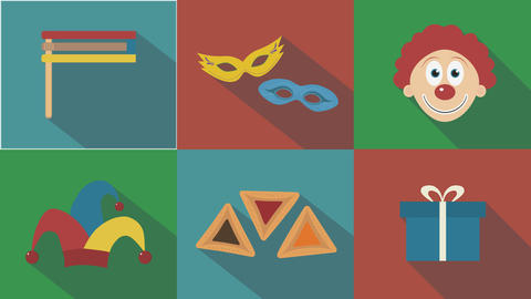 Purim holiday flat design animation icon set with traditional symbols. loop with CG動画素材