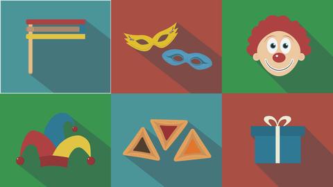 Purim holiday flat design animation icon set with traditional symbols. loop with 애니메이션