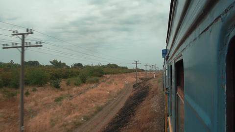 View from the window of the passing train Footage