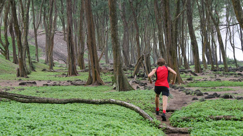 Trail Runner - Determined Young Man Running In Forest Live Action