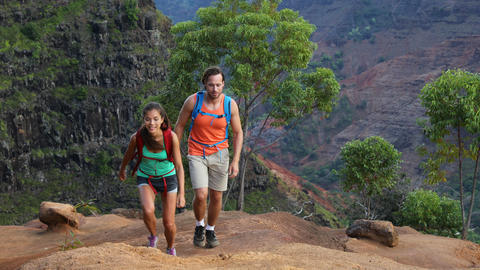 Hawaii hiking - couple on hike in Waimea Canyon Kauai Live Action