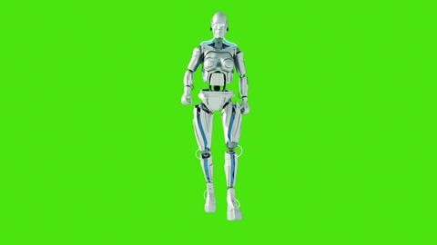 Walking Futuristic humanoid robot. Green screen. Loopable CG動画素材