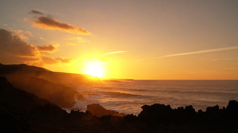 Lanzarote, Canary Islands, Spain beautiful sunset at ocean and cliffs landscape Footage