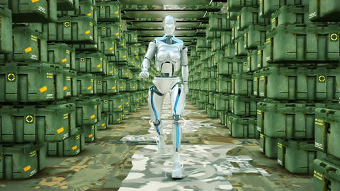 Futuristic humanoid robot walking on a military warehouse. Loopable 画像