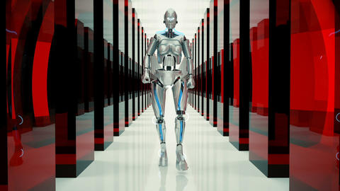 A futuristic humanoid robot, walking through a fantastic tunnel. Loopable CG動画素材