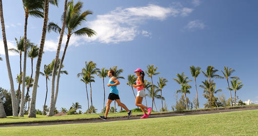 Sport fitness runners couple running lifestyle Footage